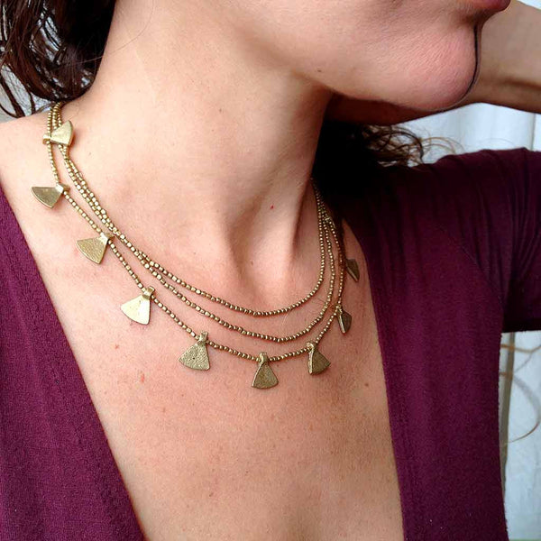 Triangles Beaded Brass Necklace