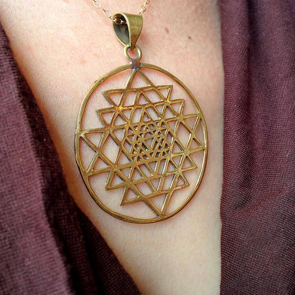 Shri Yantra Brass Necklace