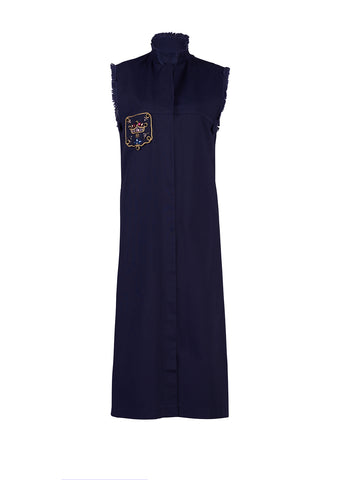 Navy cotton maxi dress - by KO - Oberson House Of Design