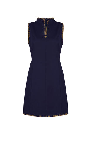 Navy cotton mini dress - by KO - Oberson House Of Design