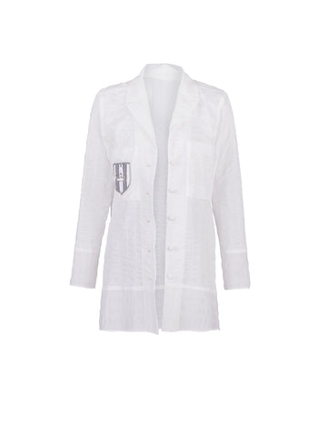 White cotton Blazer - by KO - Oberson House Of Design