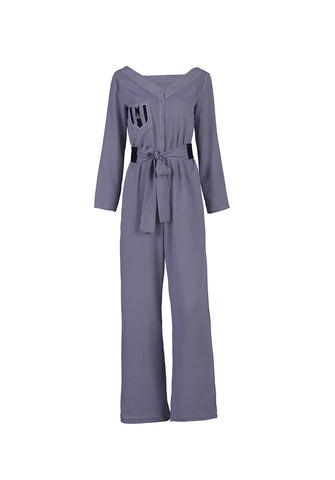 Striped Japanese silk jumpsuit - by KO - Oberson House Of Design