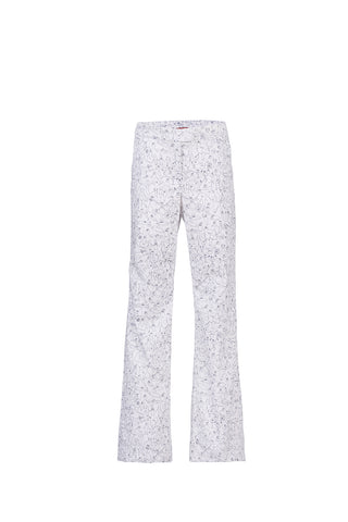White printed cotton pants - by KO - Oberson House Of Design