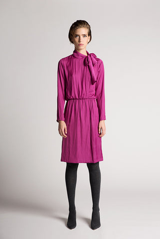 Fuchsia satin wrap dress - by KO - Oberson House Of Design