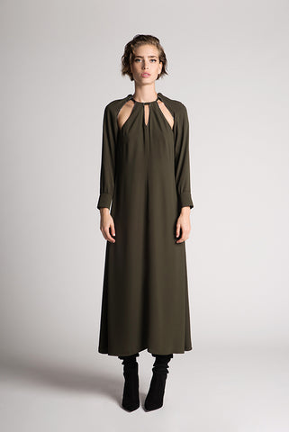 Diamond trim khaki maxi dress - by KO - Oberson House Of Design