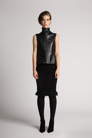 Leather turtleneck vest - by Oberson Couture - Oberson House Of Design