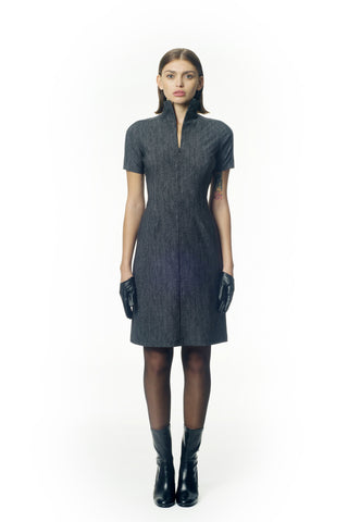 Tweed pattern stretch knit high neck midi dress