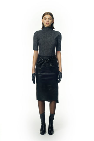 Tie-front pencil leather skirt