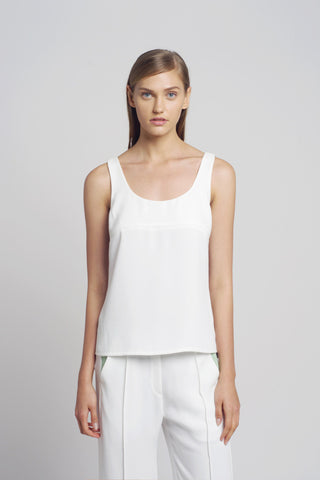 White Crepe Tank Top - Oberson House Of Design