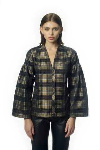 Golden plaid taffeta blouse