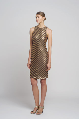 Gold & Bronze Short Sequin Dress - Oberson House Of Design