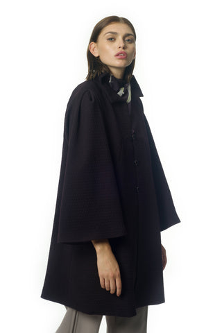 Dark purple wool coat - Gideon Oberson