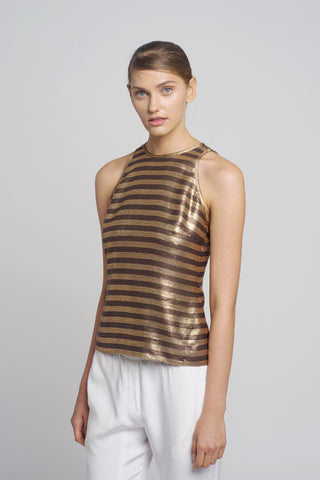 Gold & Bronze Sequin Tank Top - Oberson House Of Design