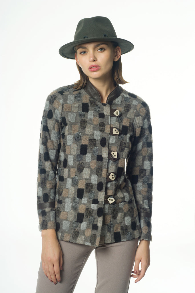Square pattern knit jacket – Oberson House Of Design
