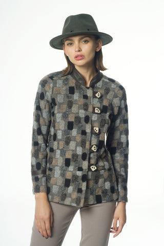 Square pattern knit jacket - by KO - Oberson House Of Design