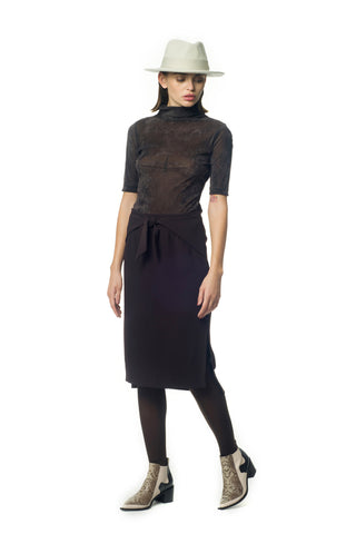 Tie-front brown pencil skirt - by KO - Oberson House Of Design