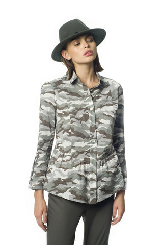 Camouflage cotton blouse - by KO - Oberson House Of Design