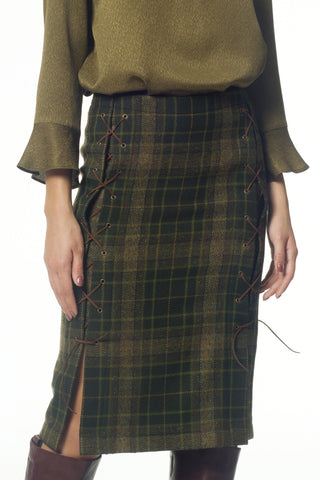 Checked wool lace-up pencil skirt