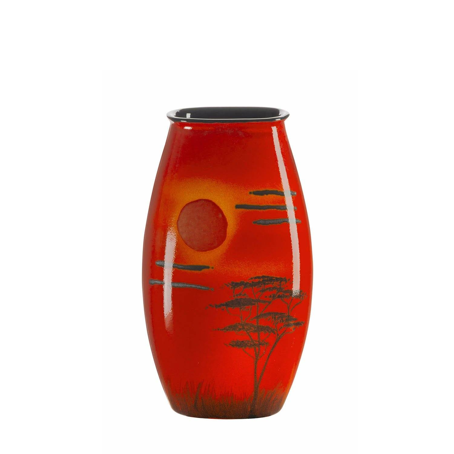 Poole Pottery African Sky Manhattan Vase 26cm oval orange//red new boxed