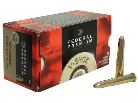 Federal Premium V-Shok Ammunition 22 Hornet 30 Grain Speer TNT Green Hollow Point Lead-Free Box of 50 - OPTICS PROS