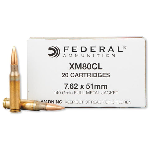 Federal 7.62x51mm NATO XM80 Full Metal Jacket, 149 Grain 2750 fps, Box of 500 - OPTICS PROS
