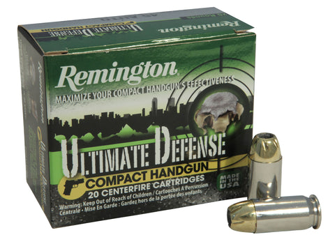 Remington Ultimate Defense Compact Handgun Ammunition 45 ACP 230 Grain Brass Jacketed Hollow Point Box of 20 - OPTICS PROS