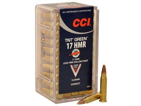 CCI Ammunition 17 Hornady Magnum Rimfire (HMR) 16 Grain Speer TNT Green Hollow Point Lead-Free - OPTICS PROS