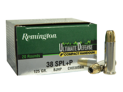 Remington Ultimate Defense Compact Handgun Ammunition 38 Special +P 125 Grain Brass Jacketed Hollow Point Box of 20 - OPTICS PROS