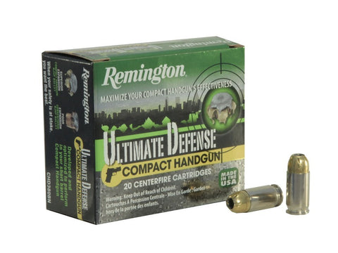 Remington Ultimate Defense Compact Handgun Ammunition 40 S&W 180 Grain Brass Jacketed Hollow Point Box of 20 - OPTICS PROS