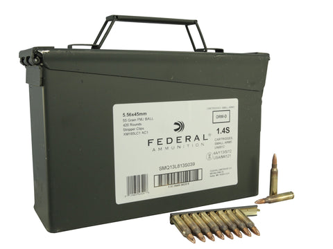 Federal Ammunition 5.56x45mm NATO 55 Grain XM193 Full Metal Jacket Boat Tail 10 Round Clips in Ammo Can of 420 - OPTICS PROS