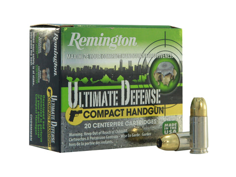 Remington Ultimate Defense Compact Handgun Ammunition 9mm Luger 124 Grain Brass Jacketed Hollow Point Box of 20 - OPTICS PROS
