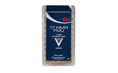 CCI Ammunition 17 Hornady Magnum Rimfire (HMR) 20 Grain Full Metal Jacket Box of 50 - OPTICS PROS