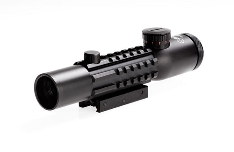 Sun Optics Tri Rail Rifle-Scope - 4x28, Tactical Mil Dot/IR CS12-RM428IR - OPTICS PROS
