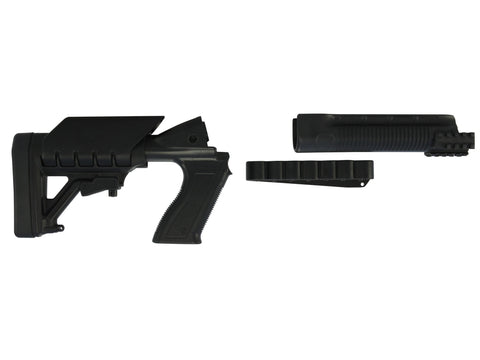 Archangel 500SC Tactical Shotgun Stock System Mossberg 500, 590 with Receiver Mount Shell Carrier - Black Polymer - OPTICS PROS