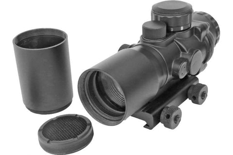 Sun Optics 4x32 Prismatic Illuminated Red Dot Sight with Sunshade PS30432IR - OPTICS PROS