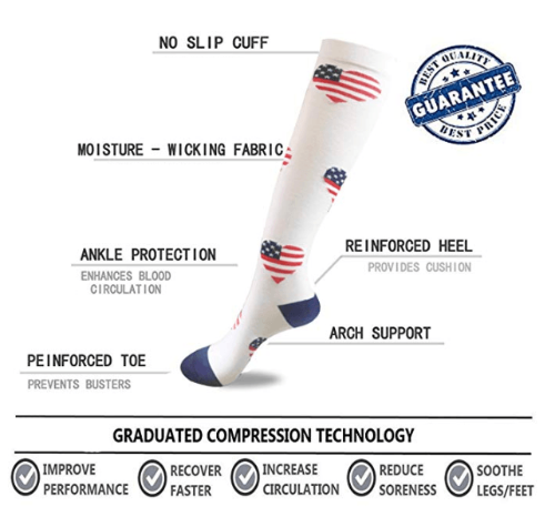 American Flag Compression Socks - 20-30 mmHg Support for Reduced Swelling!