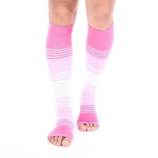 Striped Open Toe Compression Socks - Easy to Put On Toeless Support Stockings!