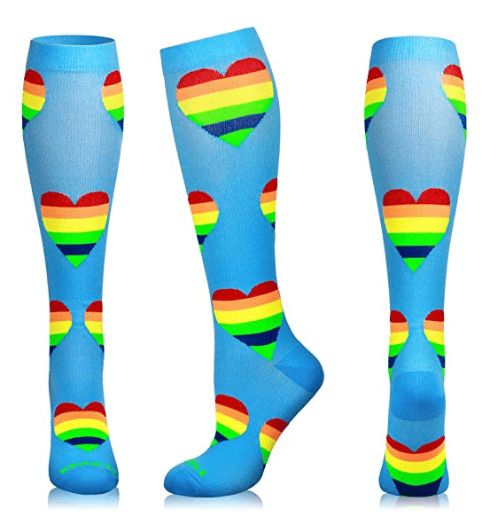 Rainbow Heart Collection - Compression Socks ~ 20-30 mmHg for Swelling & Energy Boost!