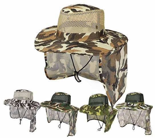 Camo Sun Hat - Face & Neck Coverage ~ UPF 50 Sun Protection!