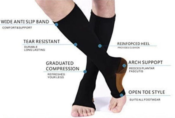Copper Open Toe Compression Socks Toeless Men Women