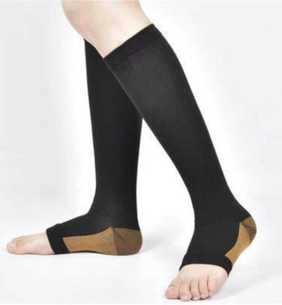 Copper Open Toe Compression Socks - Easy to Put On Toeless Support Stockings!