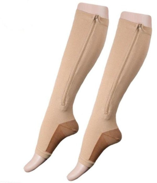 Copper Zipper Compression Socks - Zip Up Support Stockings ~ Easy to Wear!