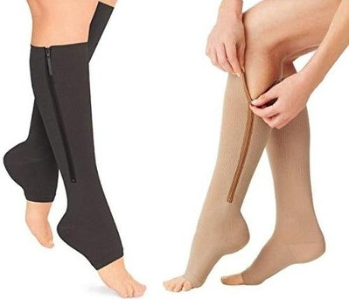Open Toe Zipper Compression Socks Graduated Stockings  - Zip Up with Ease! - Affordable Compression Socks