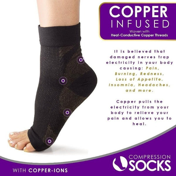 Copper Infused Plantar Fasciitis Compression Foot Sleeves - Arch & Heel Pain Relief - Affordable Compression Socks