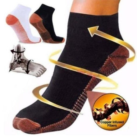 Copper Plantar Fasciitis Compression Socks - Advanced Arch & Heel Support