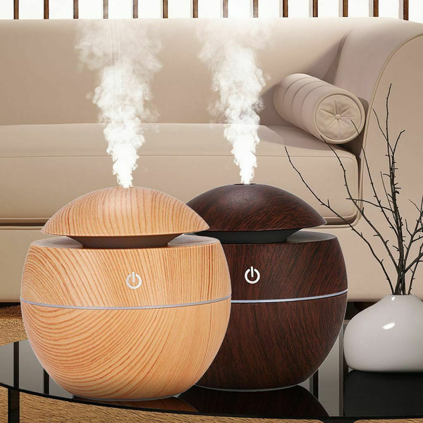 Round Wood Oil Diffuser - Dark or Light