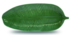 Large handmade rich green glazed porcelain banana leaf shaped and textured dinnerware platter for dining and entertaining, serving, table centerpieces, and wall decor.