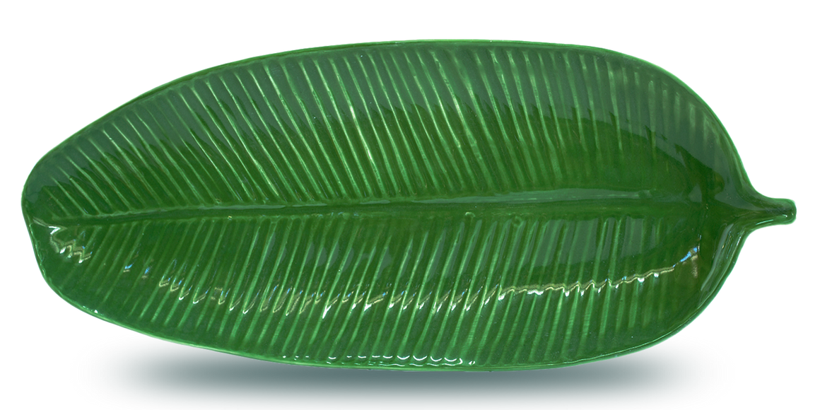 Large handmade white porcelain banana leaf shaped and textured dinnerware platter for dining and entertaining, serving, table centerpieces, and wall decor.