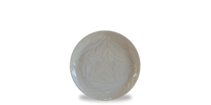 Breadfruit leaf etched pattern in a salad plate glazed in a cream glaze to mimic the creamy colour of the breadfruit. Stunning example of modern Jamaican pottery and Jamaican ceramics
