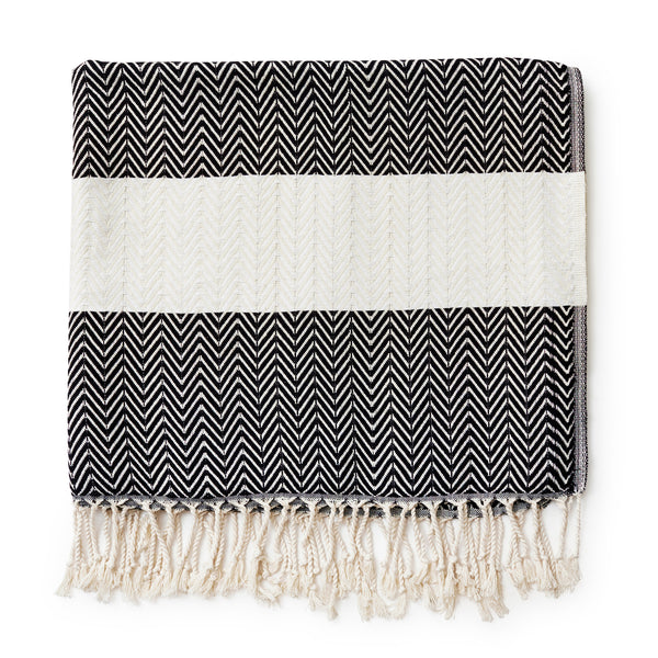 Turkish Beach Towel - Black and White